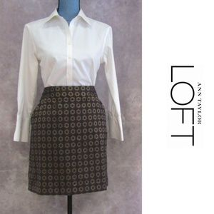 LOFT Petites Blue Brown Flower Skirt Size 12P